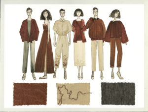 Neutral colors on 6 drawn models display Imperceptible collection by Ashley Maurice