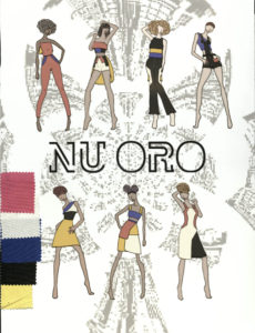 Nu Oro with 7 models displaying pink, blue, and yellow themed collection