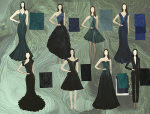 Blue and green dresses worn by 8 drawn models depict Bond Girl collection