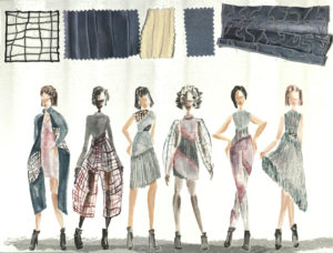 6 drawn models display color and textures for collection, Salomonica by Eleanor Yeh