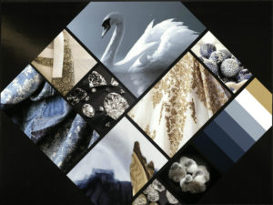 Swan, gold, blue, diamonds depict Reclaimed inspiration board