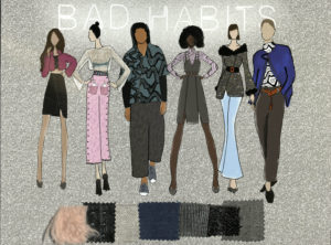 Bad Habits models and fabric swatches