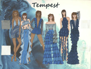 Tempest shows 6 women drawn wearing blue dresses all incorporating frills