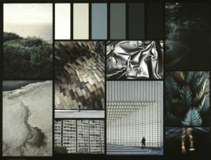 Inspiration board with images of nature for collection Subtle Geometries